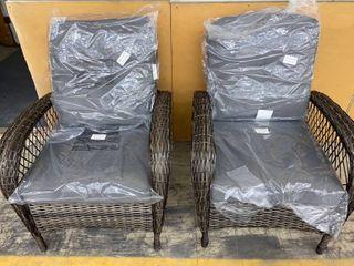 Pre Assembled   Corvus Padova 2 piece Wicker Patio Chair Set  Grey