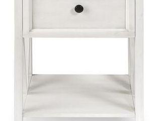 19  1 Drawer Wood Side Table   Reclaimed Barnwood   White Wash