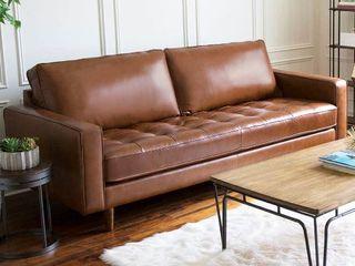 Abbyson Holloway Mid century Top Grain leather Sofa  Carmel  Retail 1754 49