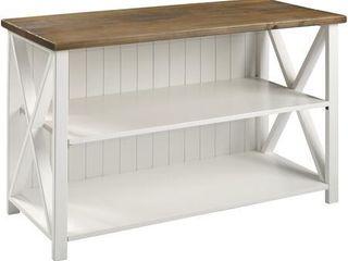 52  Solid Wood Farmhouse Storage Console   White reclaimed Barnwood