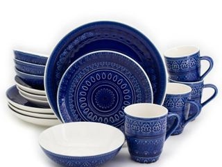 Euro Ceramica Fez 16pc Dinnerware Set Blue