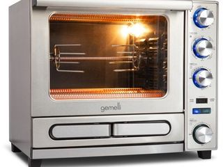 Gemelli Twin Oven  Convection Oven with Built In Pizza Drawer and Rotisserie  Stainless Steel Finish  Retail 409 99