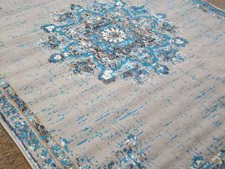 Century Blue and Grey Ornate Area Rug  237cm x 320cm