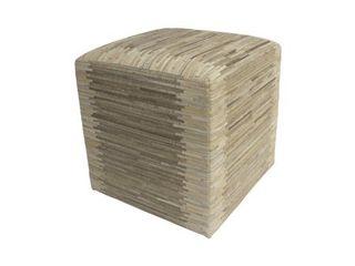 Decor Maisonette Striped Hide Pouf Maxwell  Beige  18 x18 x18  Retail 211 49