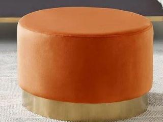 Art leon Round Velvet Ottoman Upholstered with Plating Metal Hemming  Retail 131 99