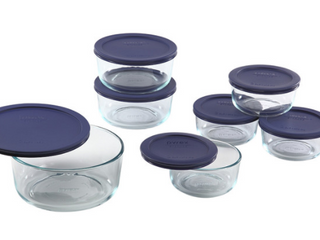 PYREX 14 PIECE SET WITH BlUE COVERS