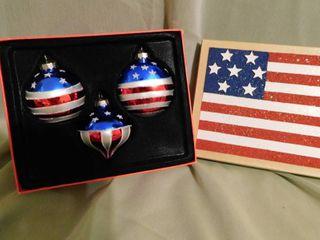 Patriotic Christmas Bulbs  3 ea