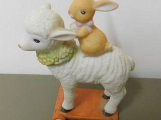 Schmid Figurine   lamb on Roller Board