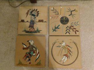 Native American Wood Sand Art  4 ea