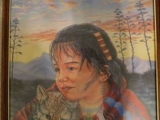 Framed Print   American Indian Girl Holding Wolf