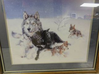 Native Wolf Framed Picture