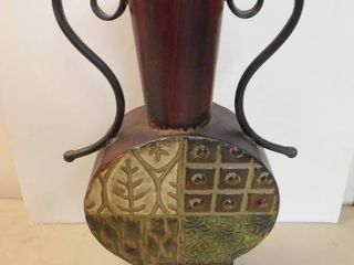 Metal leaf and Geometric Design Vase
