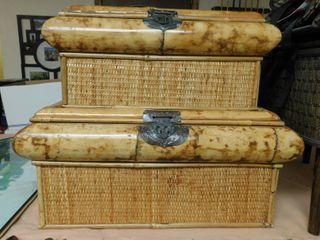 Bamboo   Basket Weave Storage Units  2 ea