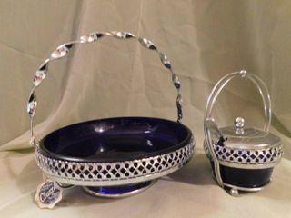 Vintage Queen Anne Silver Cobalt Blue Serving Set