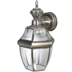 Secure Home Hanging Carriage 14 5 in H Antique Silver Motion Activated Outdoor Wall light