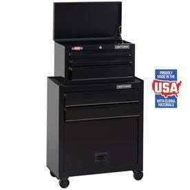 CRAFTSMAN 26 in W x 44 in H 5 Drawer Ball Bearing Steel Tool Chest Combo  Black