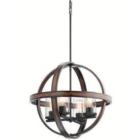 Kichler Barrington 21 25 in Distressed Black And Wood Art Deco Single Seeded Glass Orb Pendant