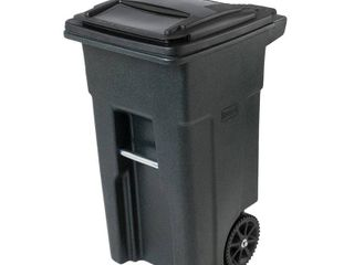 Toter 025532 R1GRS Residential Heavy Duty 2 Wheeled Trash Container Cart with Attached lid  32 Gallon  Greenstone