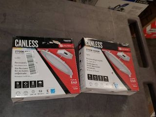 lot of 2 Utilitech White Canless led Recessed lighting Kit  Fits Openings 6a Wide