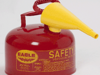Eagle UI 25 FS Type I Metal Safety Can with F 15 Funnel  Flammables  11 1 4  Width x 10  Depth  2 1 2 Gallon Capacity  Red