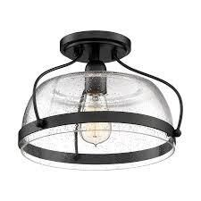 Quoizel Henderson 12 5 in Black Farmhouse Semi flush Mount light
