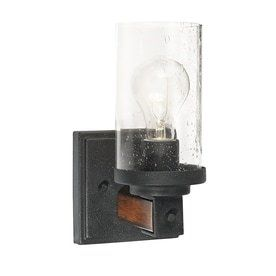 Kichler Barrington 4 49 in W 1 light Distressed black and wood Arm Wall Sconce