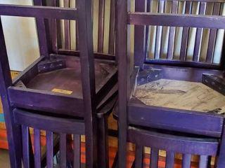 4  Purple Bar Height Chairs