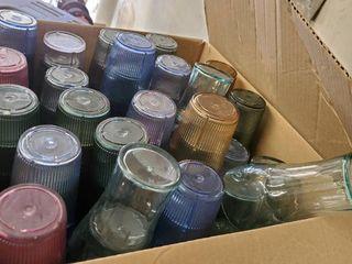Box Full Of Various Plastic Cups