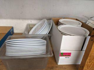Assorted Plastic And Ceramic Plates