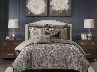 Madison Park Signature Grandover Taupe Jacquard Comforter Set  Retail 418 49