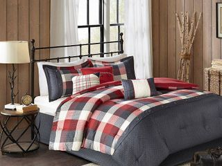 Red 7pc Herringbone Comforter Bedding Set with Bedskirt and Decorative Pillows   Warren