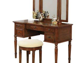 William s Home Furnishing Natalia Brown Cherry Vanity Set
