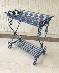 Two Tier Rectangular Plant Stand in Antique Blue  Gretchen  Retail 115 50