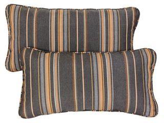 Grey  Orange Stripe Corded 12 x 24 inch Indoor  Outdoor lumbar Pillows with Sunbrella Fabric  Set of 2 Retail 77 98
