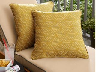 set of 2 yellow triangles Corded square pillows by Havenside Home