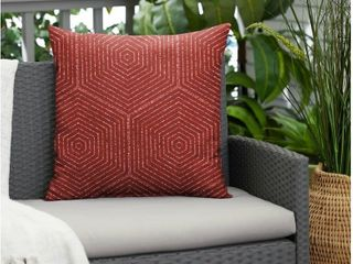 3 Ruby Graohic Indoor Outdoor Knife edge square pillows