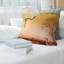 Porch   Den Utagawa Hiroshige  Japanese Cranes  Throw Pillow