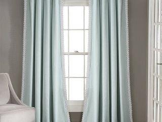 108 x54  Rosalie Rod Pocket light Filtering Window Curtain Panels Blue   lush Decor