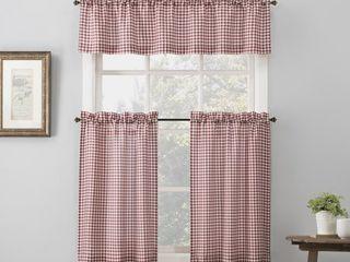 set of 2 36 x54  Parkham Farmhouse Plaid Rod Pocket Semi Sheer Kitchen Curtain Valance and Tiers Set Red White   No  918