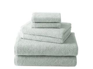 Brielle Home Grayson 6 Piece Textured Turkish Cotton Towel Set  Seafoam