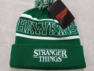 lot of 4 Men s Stranger Things Funko Hawking Beanie   White  Green