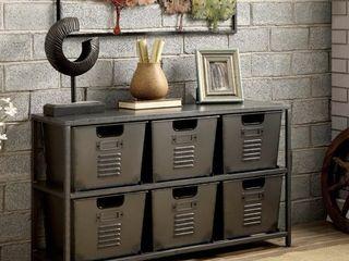Furniture of America Copern Industrial Grey Metal 6 bin Storage Shelf  Retail 379 49