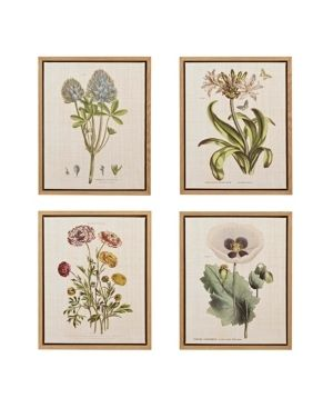 Martha Stewart Herbal Botany Green Framed linen Canvas 4 Piece Set  Retail 129 99
