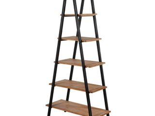 64 in  Driftwood Gray Black Metal 5 shelf Standard Bookcase with Open Back Retail  160
