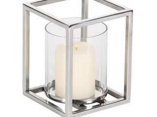 Decmode Contemporary 7 x 5 inch stainless steel and glass hurricane  Clear  Silver
