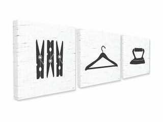 Stupell Industries laundry Items Bathroom Black And White Design  Proudly Made in USA   17 x 17  Retail 99 99