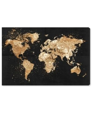 Oliver Gal  Mapamundi on the Rocks Night  Maps and Flags Wall Art Canvas Print   Black  Gold  Retail 163 49