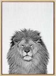 Sylvie lion Framed Canvas Wall Art by Simon Te Tai  Gray 23x33 Retail  79 99