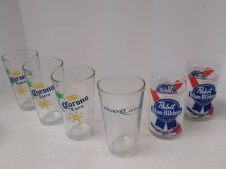 lot of 6 Beer Drinking Glasses