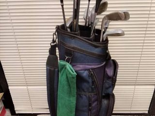 Golf bag with various clubs and accessories